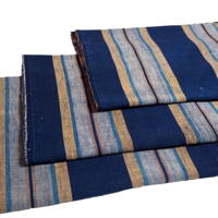 Set Of 3 Imperfect Indigo Cotton Stripe Textile Panels