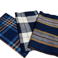 Set Of 3 Imperfect Indigo Cotton Stripe and Check Textile Panels