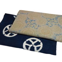 Set Of 3 Imperfect Indigo Cotton Katazome Textile Panels