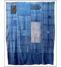 Early Boro Check Indigo Cotton Futon Cover