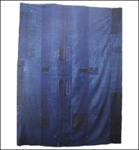 Large Early Boro Solid Indigo Futon Cover