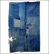 Early Boro Indigo Cotton Futon Cover Fragment Sashiko Stitching