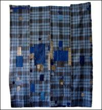 Early Indigo Check Cotton Boro Futon Cover