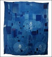 Large Early Boro Indigo Cotton Futon Cover With Sashiko And Family Crest