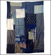 Early Indigo Cotton Boro Futon Cover Sashiko Stitching