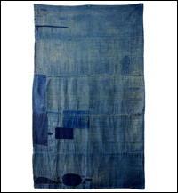 Early Solid Indigo Cotton Boro Futon Cover Sashiko Stitching
