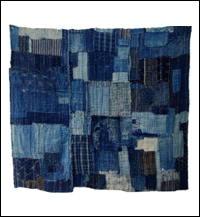 Early Indigo Cotton Boro Futon Cover Fragment Sashiko Stitching
