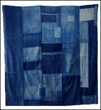 Early Large Solid Indigo Cotton Boro Futon Cover Sashiko Stitching