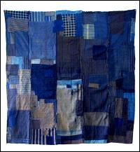 Early Indigo Cotton Boro Futon Cover Visually Stunning Zanshi Front Side