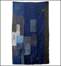 Early Solid Indigo Cotton Boro Futon Cover