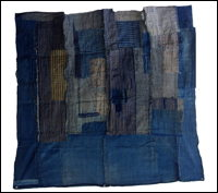 Early Indigo Cotton Large Fragment Boro Futon Cover