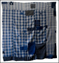 Early Indigo Check Cotton Boro Futon Cover