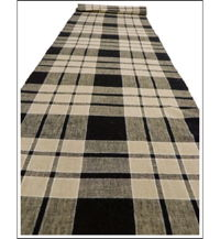 Check Cotton Indigo  Beige Textile