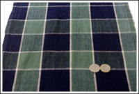 Old Check Indigo Cotton Textile w Small Hole