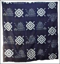 Large Early Indigo Castle Picture Kasuri Cotton Futon Cover