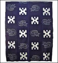 Early Indigo Turtle Picture Kasuri Cotton Futon Cover
