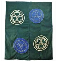 Green Silk Marriage Futon Cover 2 Different Tsutsugaki Family Kamons crests