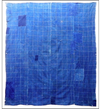 Early Solid Indigo Cotton Boro Sashiko Furoshiki