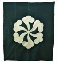Large Antique IndigoGreen Cotton Kamon Tsutsugaki Textile