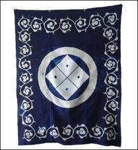 Early Indigo Cotton With Large Kamon Crest Furoshiki Cover