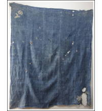 Large Early Boro Indigo Hemp Asa Furoshiki Textile