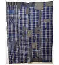 Sale Boro Patched Zanshi  Check Cotton Indigo Base Futon Cover