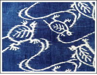 Large Katazome Swimming Turtles Indigo Cotton Textile