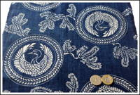 Katazome Indigo Cotton Textile Cranes and Pines Design with Makers Dye Flaw