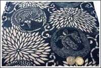 Katazome Indigo Cotton Textile Cranes and Turtles Design