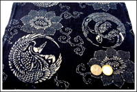 Katazome Indigo Cotton Textile Cranes and Turtles Design Small Hole