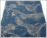Katazome Indigo Hemp Textile Crane Design