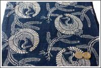Katazome Indigo Cotton Textile Crane Design
