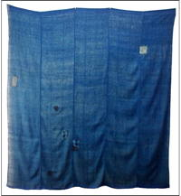 Large Indigo Cotton Kaya Mosquito Netting Some Boro Patches