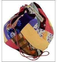 Komebukuro Mixed Silks  Cottons Large Rice Bag