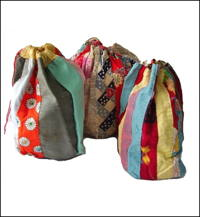 Set of 3 Old Komebukuro Cotton Rice Bags