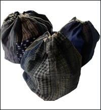 Set of 3 Old Komebukuro Cotton Rice Bags
