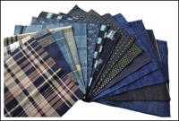 15 Mixed Indigo Cotton Textile Squares