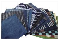 15 Mixed Indigo Textile Squares