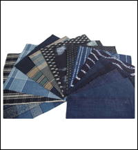 15 Mixed Indigo Cotton Textile Squares