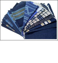 19 Large Mixed Indigo Cotton Textile Squares