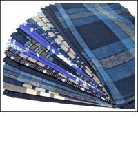 22 Large Mixed Indigo Cotton Textile Squares