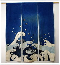 Old 3 Panel Indigo Cotton Noren Dramatic Appearance