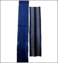 Set Of 2 Old Solid Indigo  Stripe Cotton Panels