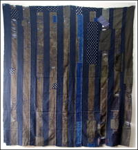 DIY Repair Stripe Indigo Cotton Boro Futon Cover