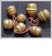 6 Old Buddhist Temple Small Hand Made Copper Suzu Bells