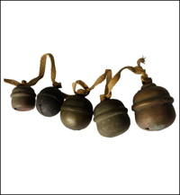 5 Old Buddhist Temple Small Hand Made Copper Suzu Bells