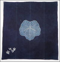 Large Antique Indigo Cotton Tsutsugaki Kamon Furoshiki