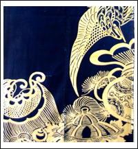 Antique Indigo Cotton Tsutsugaki Wedding Futon 12 Fragment