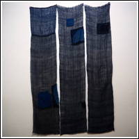 Old Mosquito Netting Variegated Indigo Hemp Patched Kaya 3 Panels