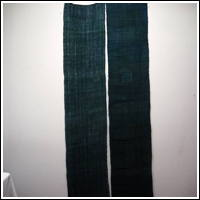 Extra Long Old Mosquito Netting Faded Hemp Patched Kaya BlueishGreen Color 2 Panels
